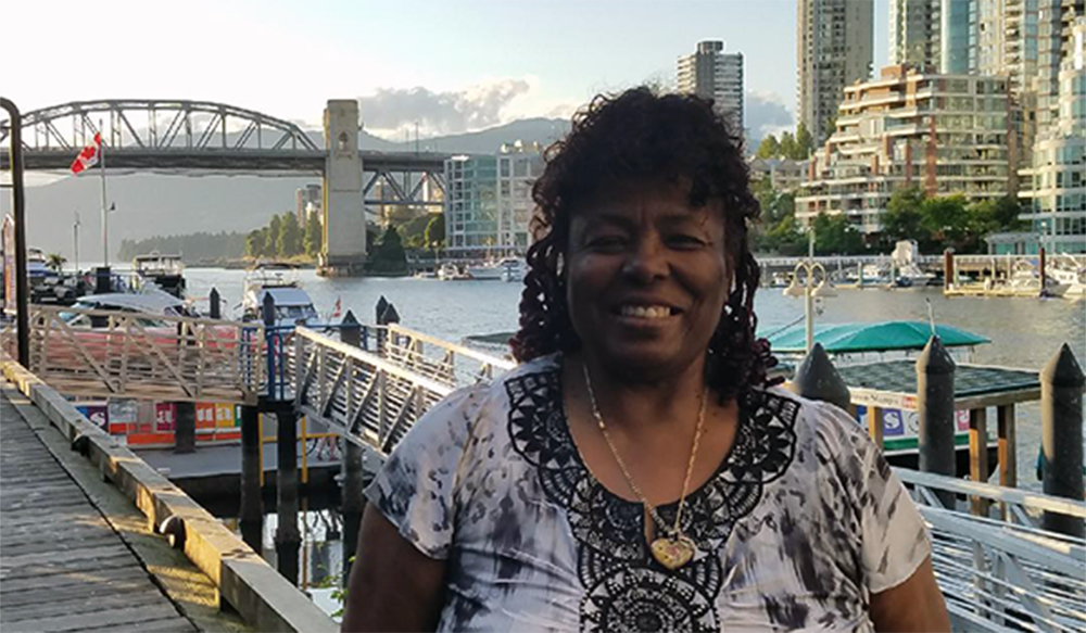 "Charlotte ""Sista C"" Ferrell on the seashore in Vancouver, British Columbia, Canada"