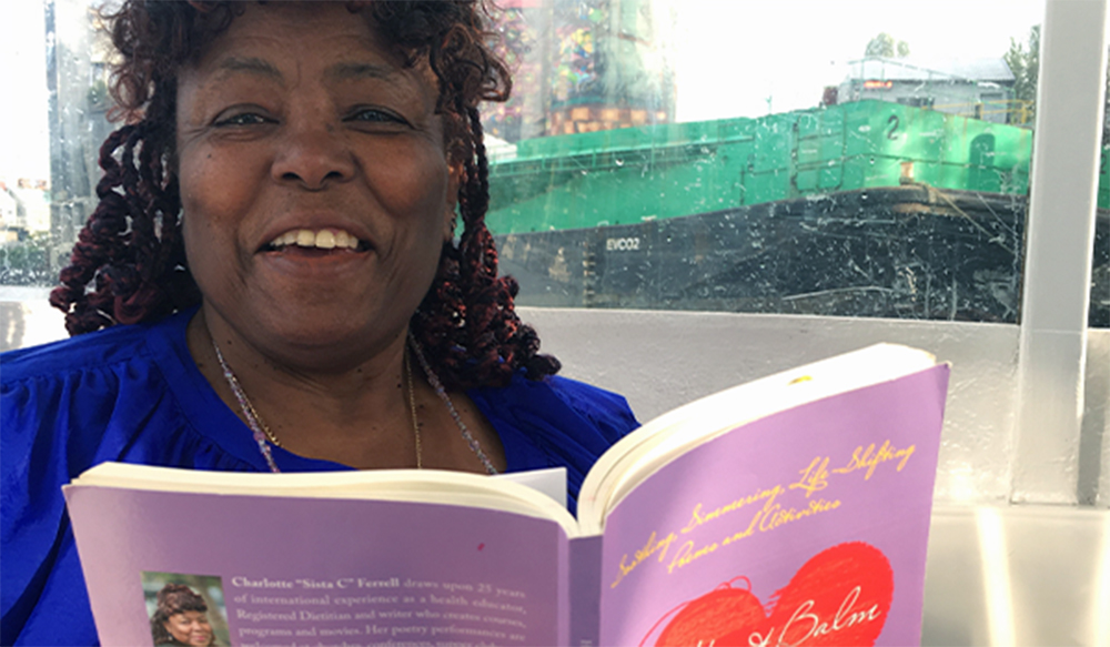 "Charlotte ""Sista C"" Ferrell shares her soothing, simmering, life‐shifting poetry from ""Heart Balm ~ Just for You"" aboard a Vancouver, CA shuttle boat."